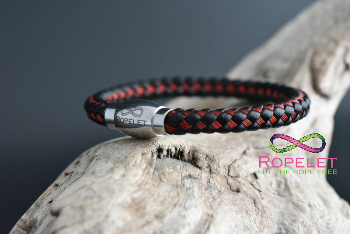 Black leather and red stainless bracelet made at www.ropelet.co.uk , jewelry , mens bracelet, mens fashion, mens gift, mens jewelry