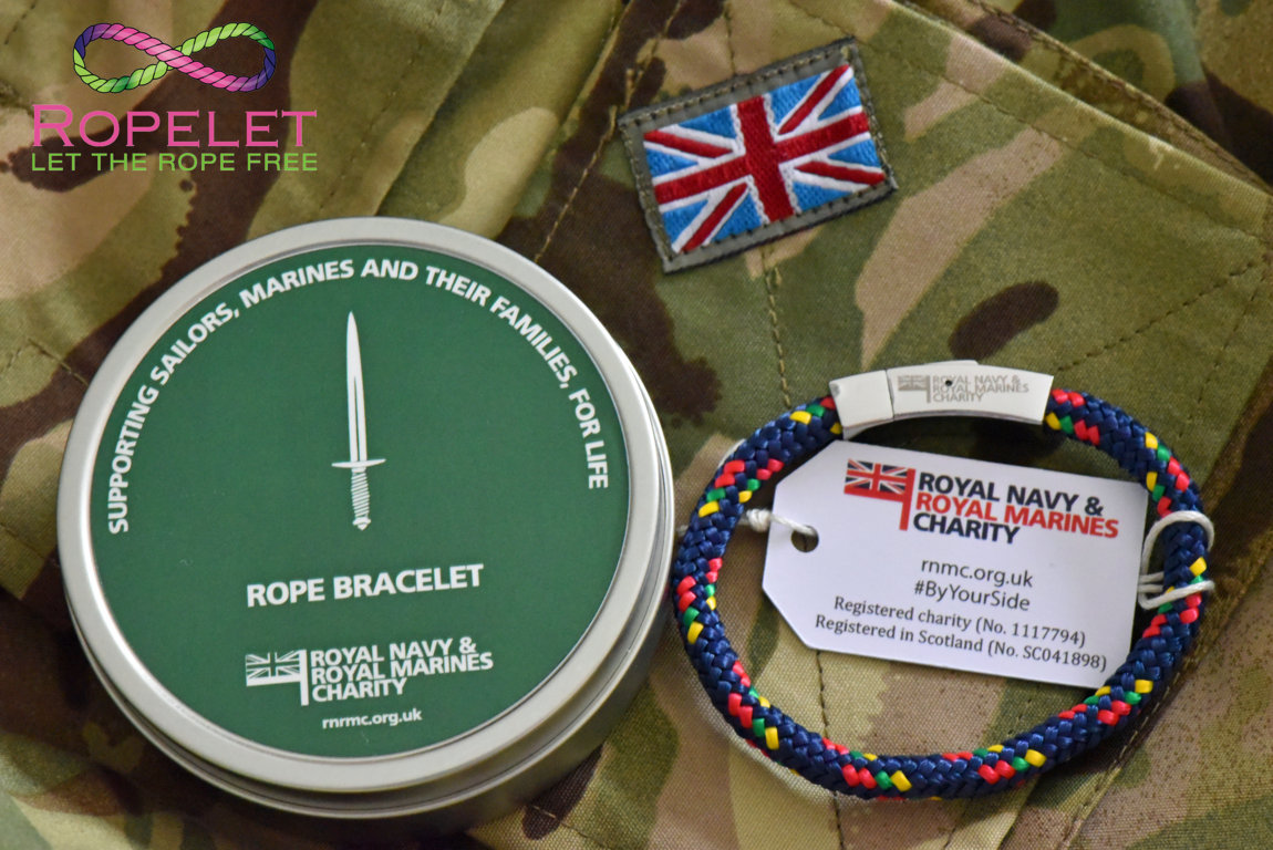 Royal Marines Charity bracelet for the RNRM Charity from www.ropelet.co.uk , support , ropelet, RM bracelet, Marines, Marines bracelet, commando