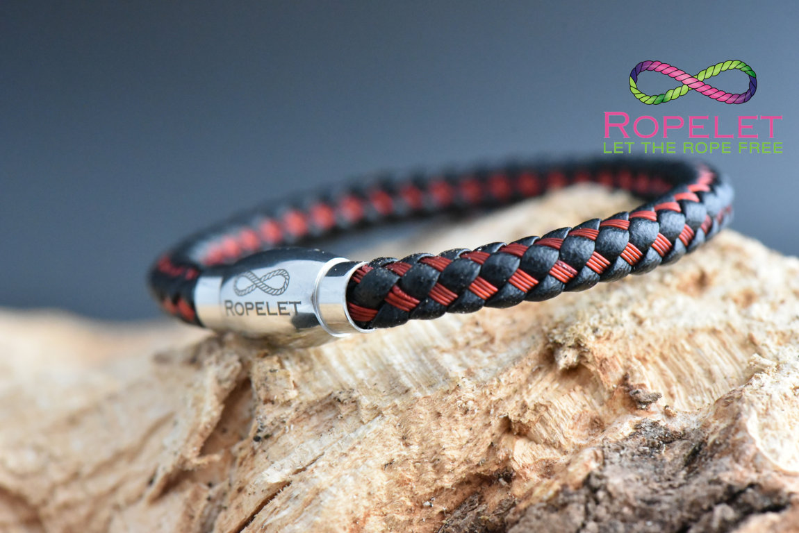 Black leather and red stainless bracelet from  www.ropelet.co.uk with magnetic non locking clasp