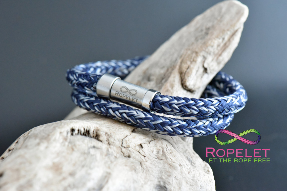 Navy blur and silver Ropelet, bracelets from www.ropelet.co.uk #bracelet #style #fashion #jewelry