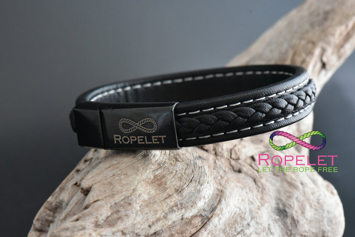 12mm black patterned leather Ropelet made to your wrist size at www.ropelet.co.uk #bracelet #ropelet #jewelry #leatherbracelet #blackleather #blackleatherbracelet