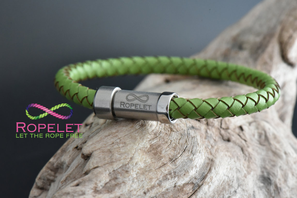 Green leather bracelet from www.ropelet.co.uk with stainless slide lock clasp, ropelet, jewelry