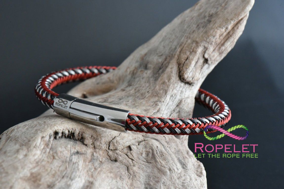 Red black and silver mix stainless steel Ropelet from www.ropelet.co.uk #ropelet #bracelet #stainlessbracelet stainlessjewelry #mensbracelet #menswear
