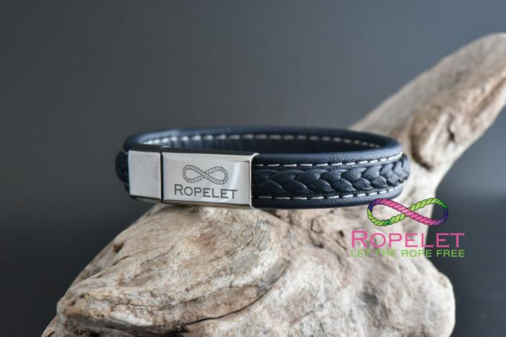 12mm blue patterned leather Ropelet with stainles clasp fromwww.ropelet.co.uk #ropelet #bracelet #leatherbracelet #blueleatherbracelet #mensbracelet